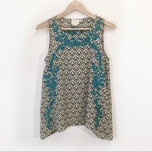 Anthropologie Boho Embroidered Tank Blouse Small